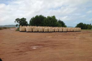 Bagged quarry product awaiting shipment