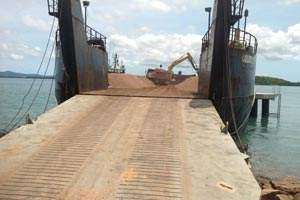 Loading barge, tug and barge transport